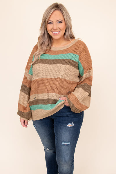 top, hoodie, pullover, brown, striped, long sleeve, teal, tape, brown, tan, scoop neck