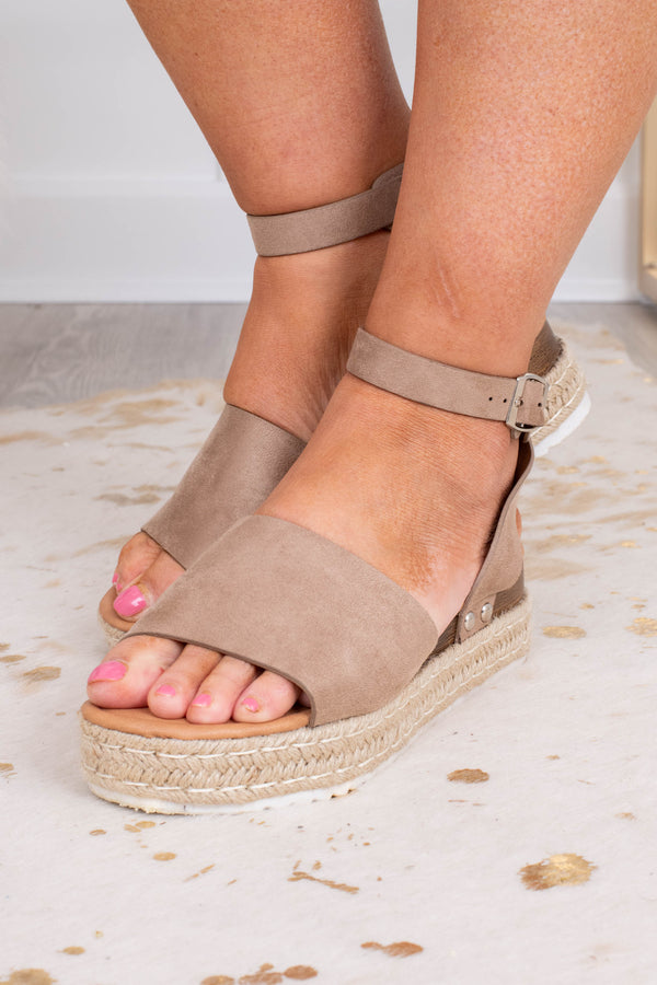 sandals, platform, rope sole, open toed, open heel, ankle strap, over foot strap, taupe, comfy