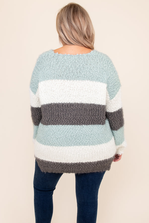 top, sweater, green, gray, white, striped, long sleeve, v neck