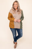 top, sweater, brown, taupe, green, orange, colorblock, long sleeve, winter, warm, casual
