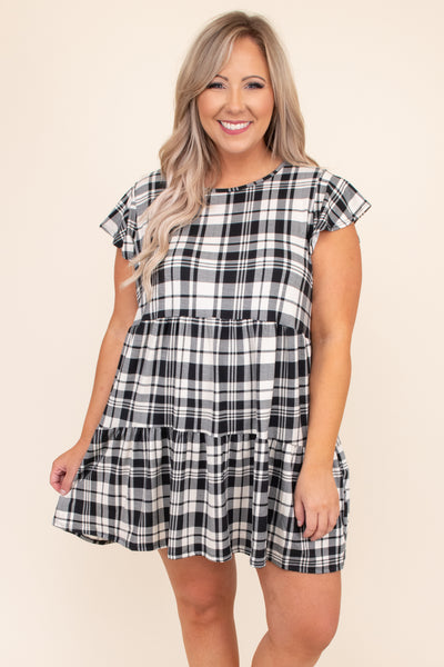 dress, short dress, above the knee, loose, comfy,  baby doll, plaid, black, white, short sleeve, fall, winter