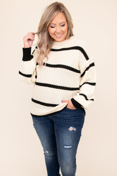 top, sweater, white, striped, long sleeve, black, bubble sleeve, cute, comfy, chic