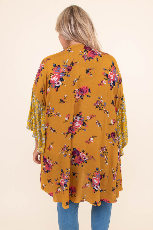 kimono, three quarter sleeve, bell sleeves, long, flowy, thin, mustard, mixed floral, pink, red, purple, green, white, comfy, outerwear, spring, summer