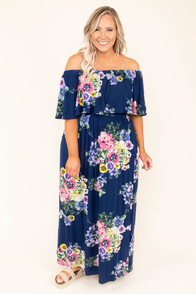 dress, maxi, off the shoulder, navy, yellow, red, purple, floral, flowy, comfy, spring, summer