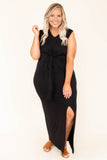 dress, maxi, short sleeve, leg slit, knot waist, black, v neck
