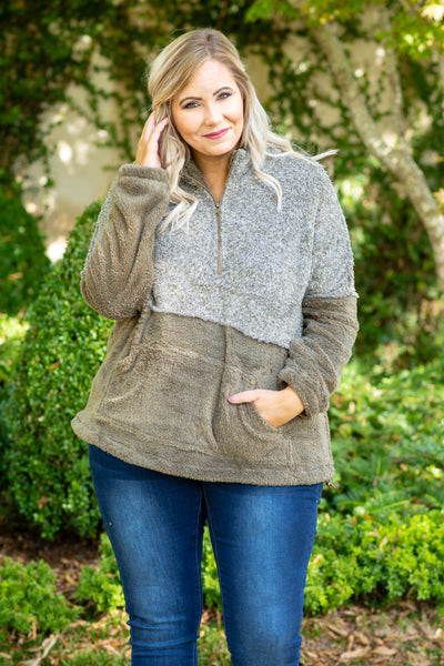 pullover, long sleeve, quarter zip, front pocket, mocha, fuzzy, outerwear, comfy, fall, winter