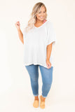 tunic, short sleeve, vneck, flowy, white, comfy