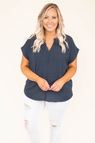top, navy, short sleeve, button down, polka dot, collared