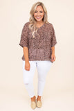 shirt, short sleeve, vneck, loose, twisted back, crisscross back, brown, black, leopard, comfy