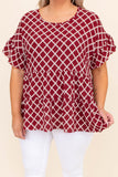 shirt, top, short sleeve, baby doll, tiered, damask, crimson, red, white