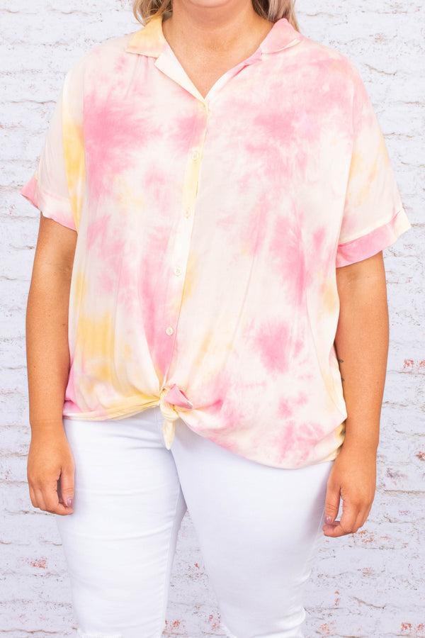 shirt, short sleeve, collared, button down, tie hem, long back, pink, white, yellow, tie die, comfy