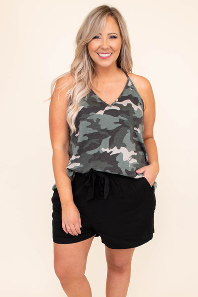 shirt, top, tank, cami, v neck, camo, charcoal, green, loose, comfy, strapless, spaghetti straps, racer back
