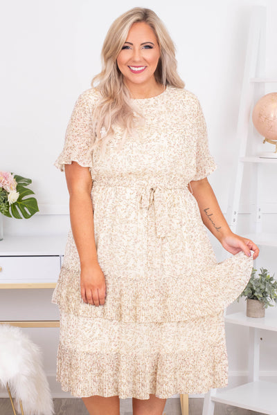 dress, midi, short sleeve, tie waist, ruffles, tiered, flowy, white, floral, tan, comfy
