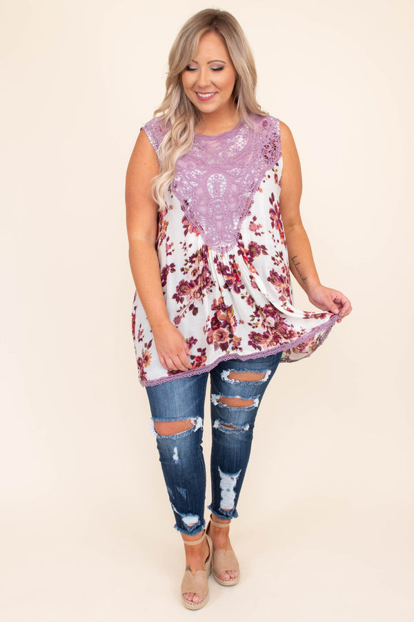 shirt, top, tank, lace neckline, floral, off white, pink, purple, loose, comfy, sleeveless