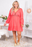 dress, short, three quarter sleeve, vneck, stitched detail, flowy, coral, comfy