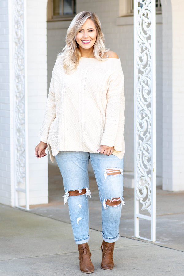 sweater, long sleeves, loose sleeves, off the shoulder, cream, solid, thick, comfy, cozy, fall, winter