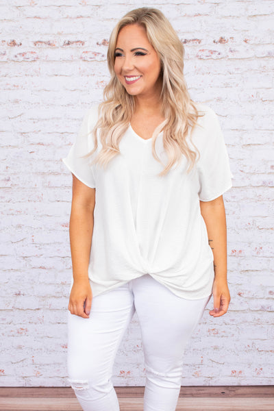 shirt, short sleeve, vneck, twisted hem, longer back, white, loose, comfy
