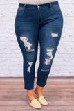 jeggings, long, skinny, unfinished hem, dark blue, ripped