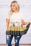 shirt, short sleeve, long, babydoll, tiered, white, mixed floral, pink, green, yellow, blue, black, comfy