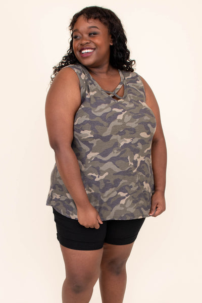 shirt, top, tank, sleeveless, camo, v neck, criss cross neck detailing, loose, comfy, olive, green