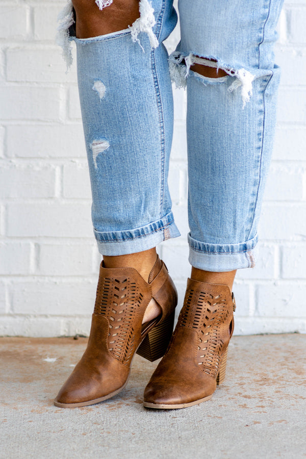 booties, heel, brown, cut outs, buckle
