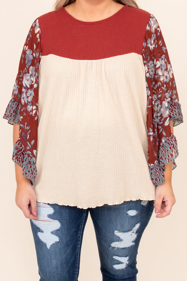 top, basic top, babydoll top, red, floral, off white, dolman sleeve, ruffle