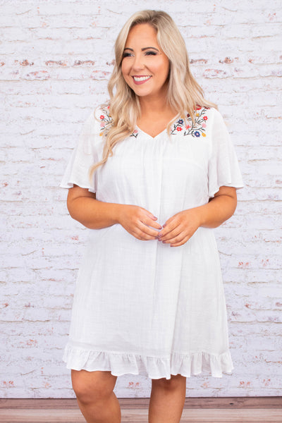 dress, short, short sleeve, vneck, ruffle hem, flowy, white, embroidery, red, green, blue, yellow, comfy, spring, summer