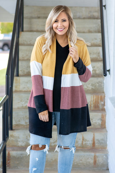 cardigan, long sleeve, long, mustard, white, red, black, colorblock, comfy, fall, winter