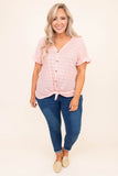 shirt, short sleeve, vneck, button down, tie hem, fitted, longer back, pink, white, striped, comfy, ruffle sleeve
