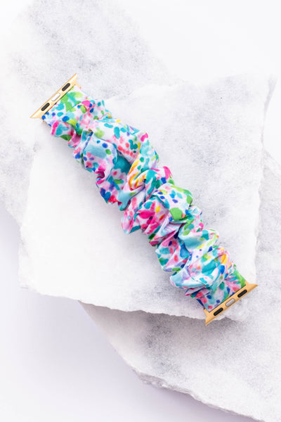 watch band, apple watch band, scrunchie band, comfy, floral, mint multi, white, blue, pink