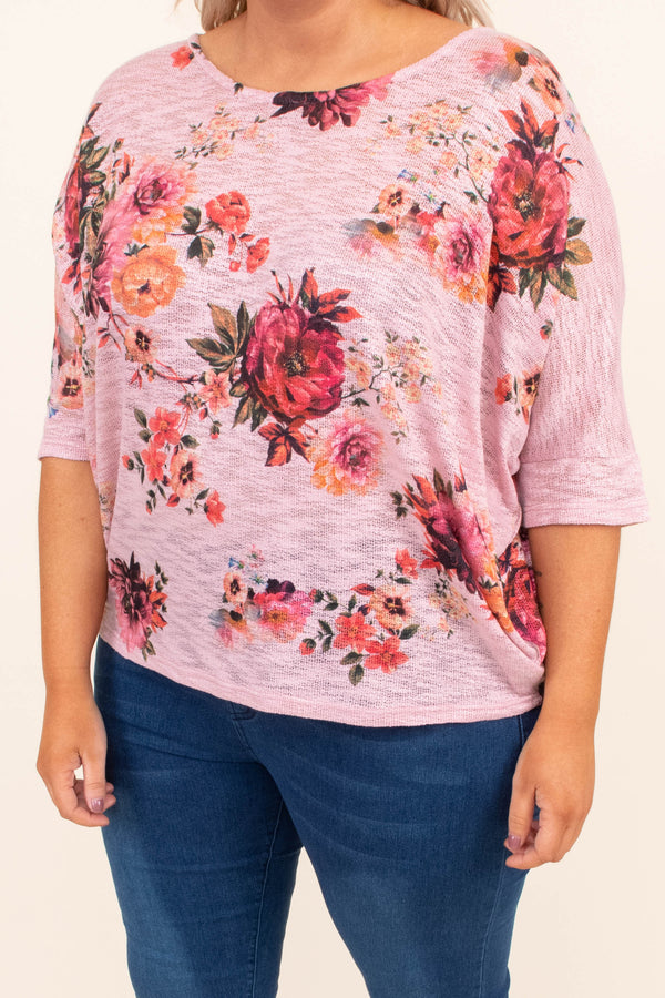 shirt, three quarter sleeve, short, loose, pink, floral, red, green, orange, comfy