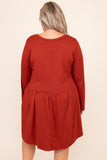 dress, basic dress, babydoll dress, orange, rust, solid, long sleeve, layer, winter