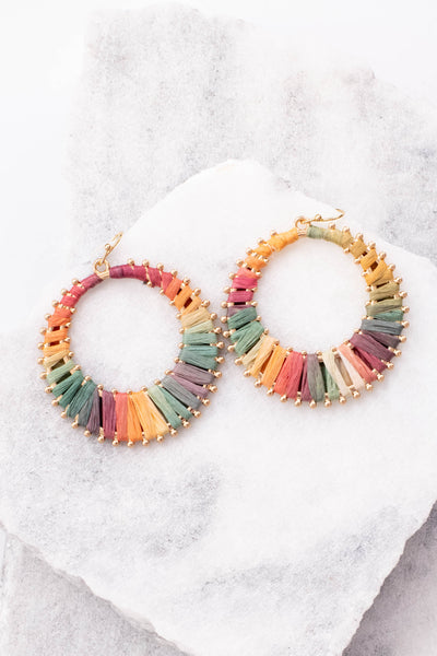 earrings, hoop, gold, milticolored, yellow, red, purple, bue