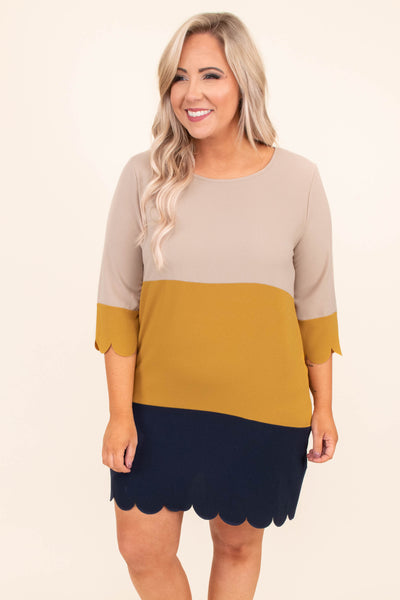 dress, short, three quarter sleeve, scalloped hems, loose, taupe, mustard, navy, colorblock, comfy
