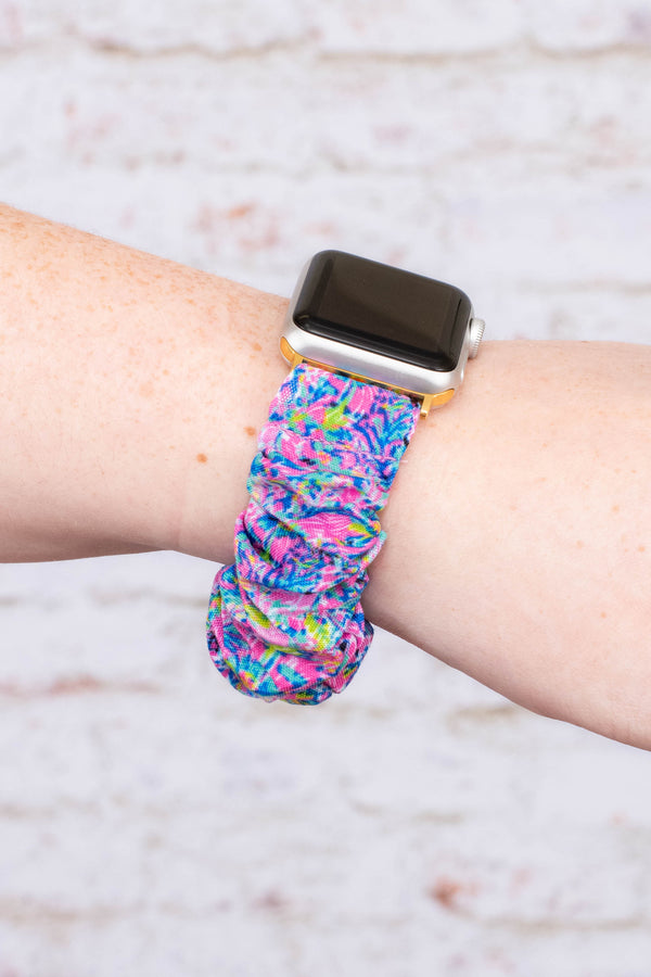 watch band, apple watch band, scrunchie band, floral, pink multi, blue, purple, green, comfy