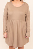 dress, casual, babydoll, brown, taupe, solid, long sleeve, flowy, cute, chic, thanksgiving, holiday