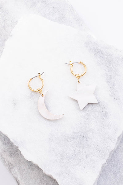 earrings, dangly, gold hoops, star, crescent moon, white