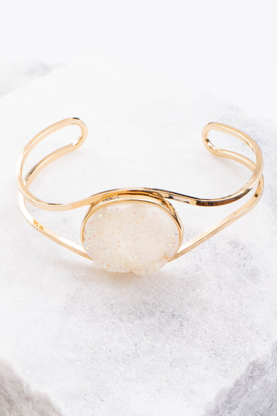 bracelet, cuff, white gemstone, gold