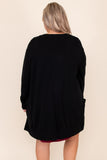 top, cardigan, black, solid, long sleeve, warm, winter, layer