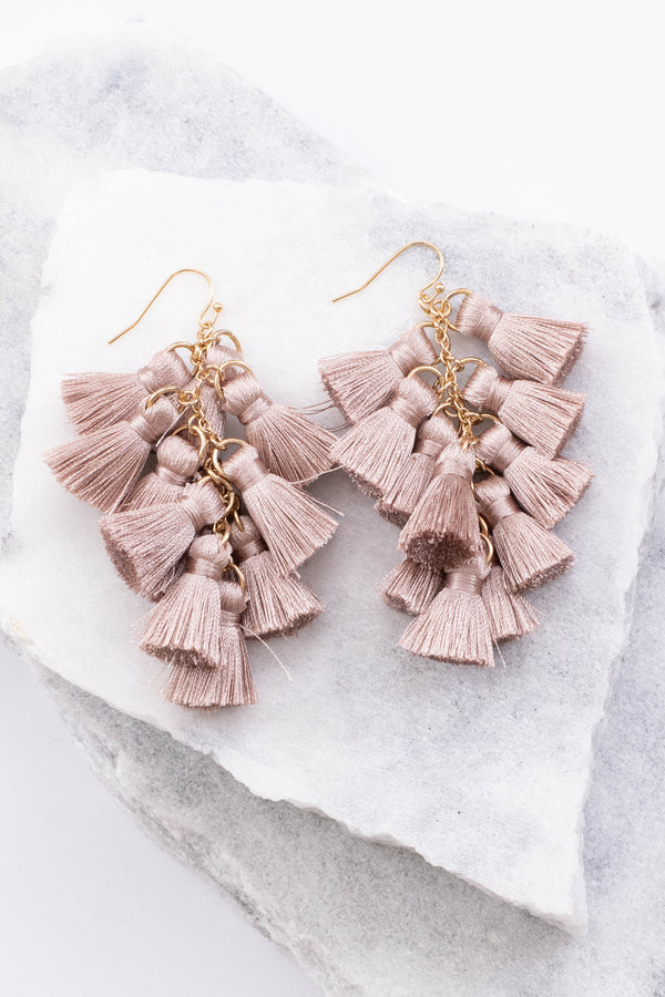 earrings, dangly, tassels, pink, gold hardware