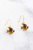 accessory, earrings, fish, brown, yellow, blue