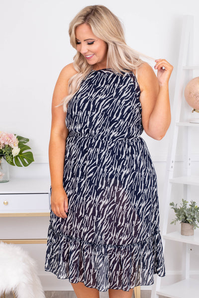 dress, midi, tank, high neckline, fitted waist, flowy, ruffle hem, navy, white, zebra print, comfy, spring, summer