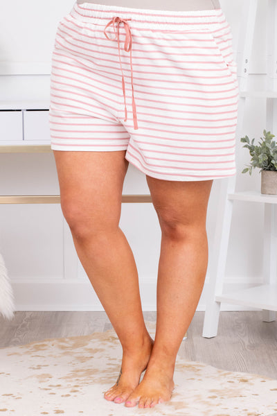 shorts, loungewear, drawstring waist, pockets, loose, white, mauve, striped, comfy