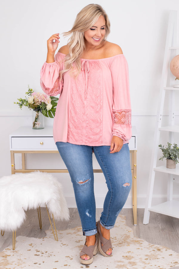 shirt, long sleeve, bubble sleeves, off the shoulder, tie neckline, curved hem, loose, lace details, pink, comfy