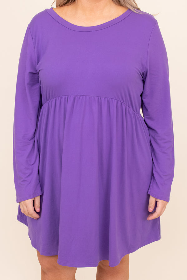 dress, basic dress, babydoll dress, purple, eggplant, solid, long sleeve, casual, layer