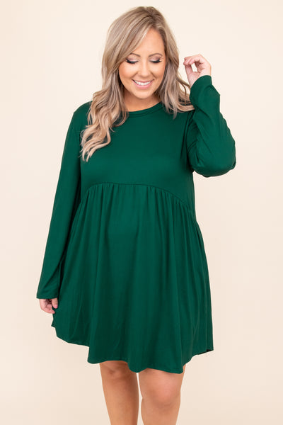 dress, basic dress, babydoll dress, green, solid, long sleeve, hunter green, flowy, layer