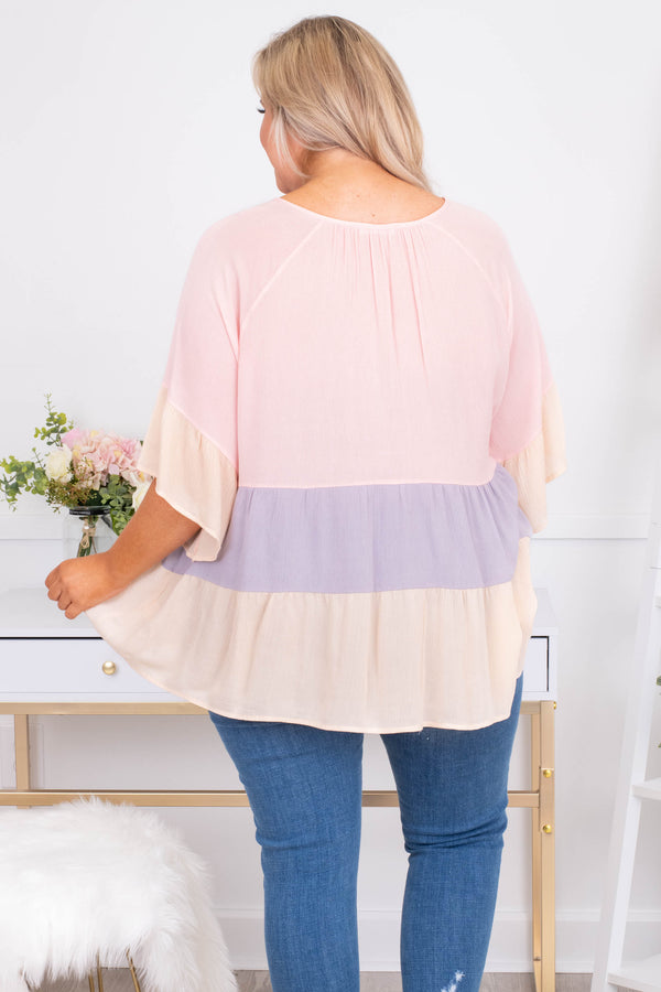 shirt, three quarter sleeve, tie neckline, flowy, loose sleeves, long, peach, purple, colorblock, comfy