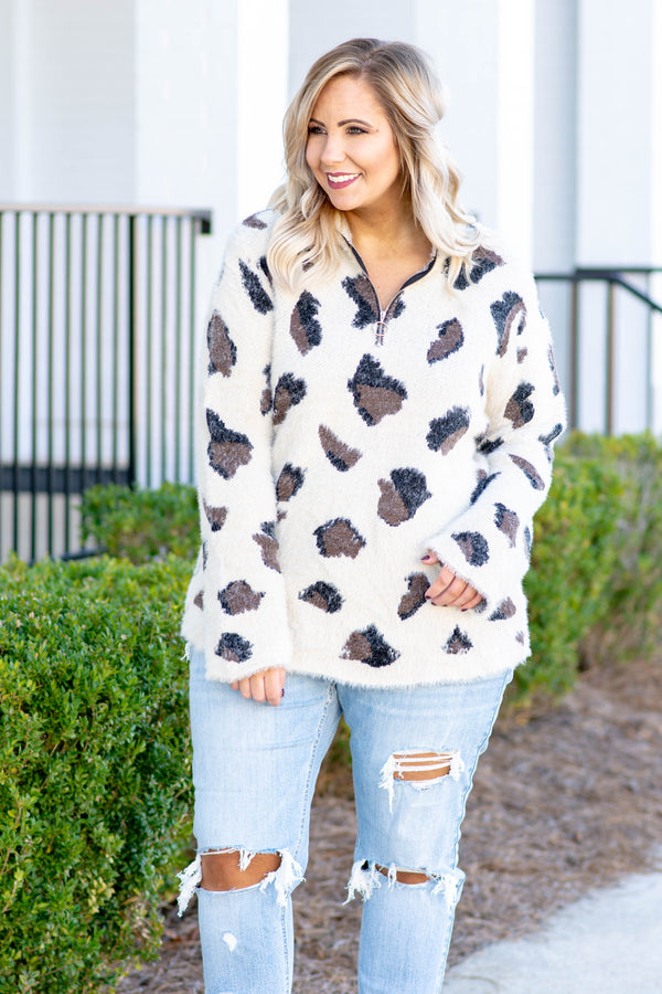 pullover, long sleeve, quarter zip, fuzzy, white, black, brown, leopard, comfy, outerwear, fall, winter