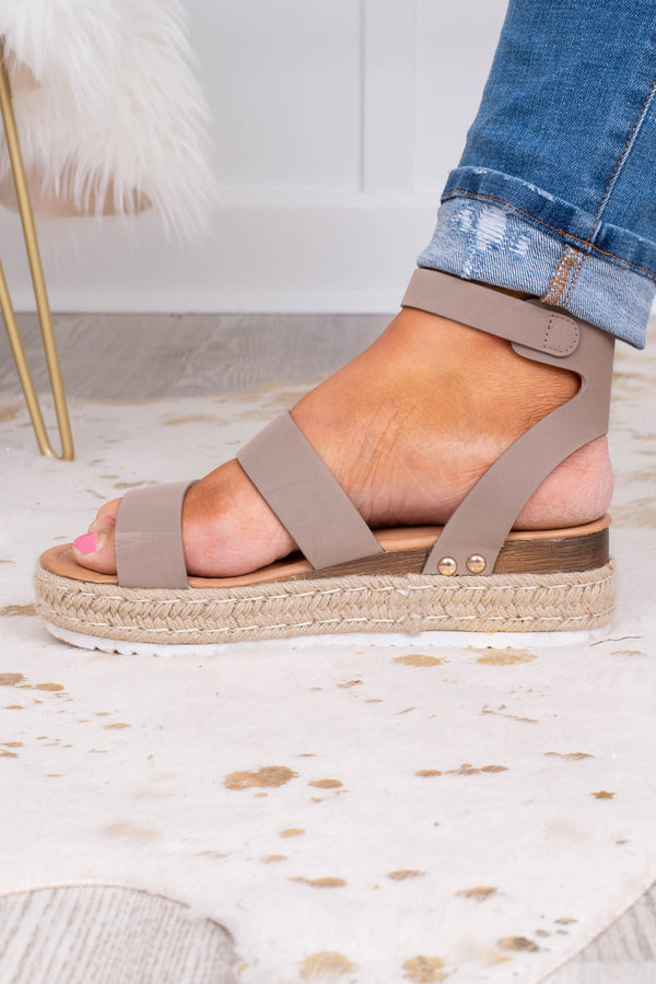 sandals, platform, rope sole, open toed, open heel, ankle strap, double foot straps, taupe