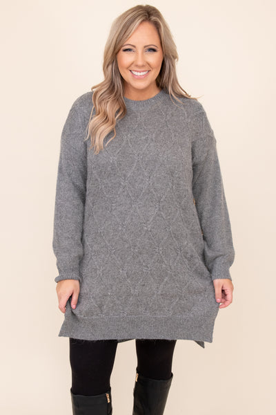 top, sweater, gray, grey, solid, long sleeve, comfy, cozy, cute, long